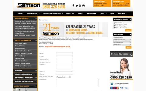Screenshot of Contact Page samsondoors.co.uk - Contact Samson Doors using our online form, telephone or direct email - captured Oct. 4, 2014