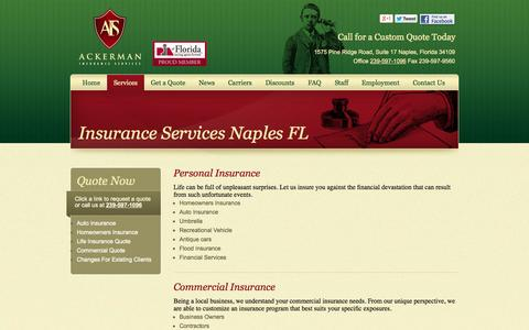 Screenshot of Services Page ackerman-insurance.com - Insurance Services | Ackerman Insurance Service - captured Oct. 4, 2014