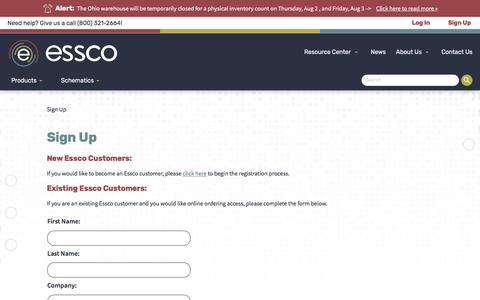 Screenshot of Signup Page essco.net - Essco - Sign Up - captured July 15, 2018