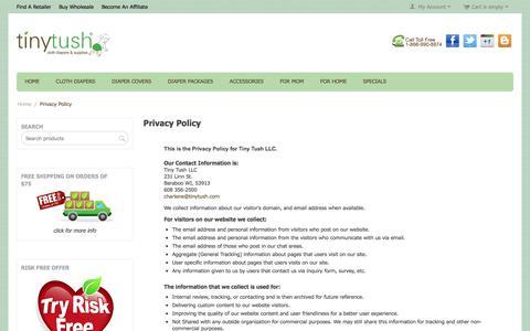 Screenshot of Privacy Page tinytush.com - Tiny Tush Privacy Policy - captured Sept. 23, 2018