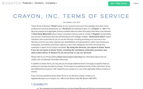 Screenshot of Terms Page crayon.co - Crayon | Terms of Use - captured June 7, 2017
