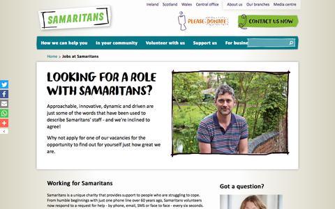 Screenshot of Jobs Page samaritans.org - Jobs at Samaritans   Samaritans - captured Oct. 5, 2017