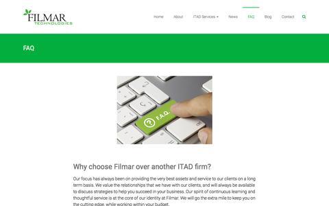 Screenshot of FAQ Page filmar.com - FAQ - Filmar Technologies - captured Nov. 25, 2016