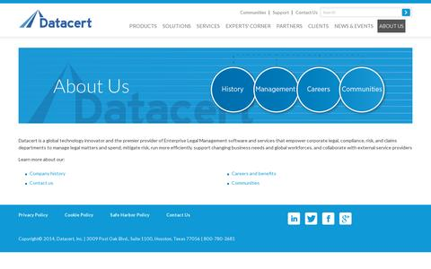 Screenshot of About Page datacert.com - About Datacert – company overview - captured July 20, 2014