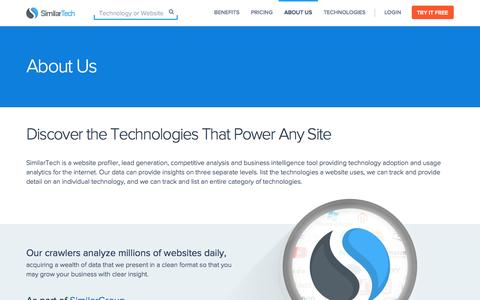 Screenshot of About Page similartech.com - About SimilarTech - captured Sept. 23, 2014
