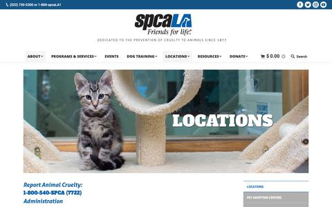 Screenshot of Contact Page Locations Page spcala.com - Locations | spcaLA - captured Nov. 7, 2018