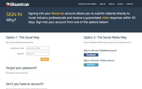 Screenshot of Login Page blazetrak.com - Blazetrak | Direct video responses from music industry professionals - captured Aug. 2, 2018