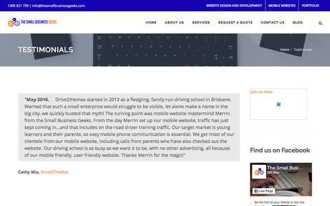 Screenshot of Testimonials Page thesmallbusinessgeeks.com - Testimonials - The Small Business Geeks - captured Nov. 17, 2017