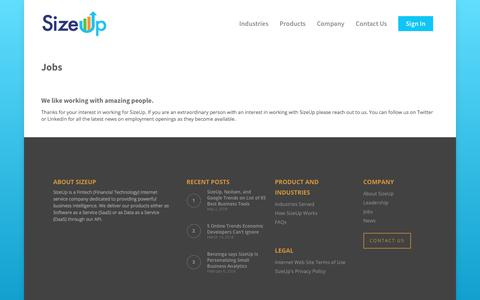 Screenshot of Jobs Page sizeup.com - Jobs – SizeUp - captured June 20, 2018