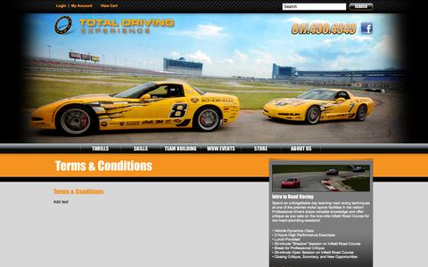 Screenshot of Terms Page totaldrivingexperience.com - Terms & Conditions | Total Driving Experience - captured Oct. 26, 2014
