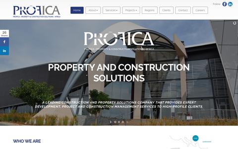 Screenshot of Home Page profica.co.za - PROPERTY & CONSTRUCTION SOLUTIONS - captured July 23, 2018