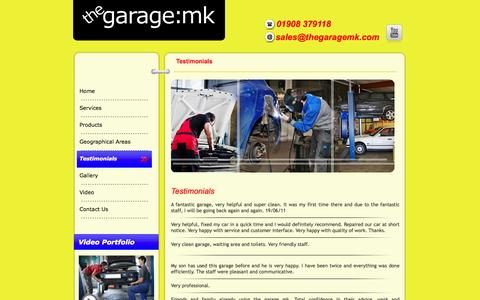 Screenshot of Testimonials Page thegaragemk.com - Remapping in Milton Keynes | Dent Removal in Milton Keynes, Garages - captured Oct. 7, 2014