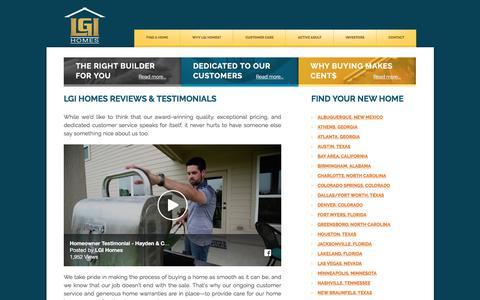 Screenshot of Testimonials Page lgihomes.com - LGI HOMES Reviews & Homeowner Testimonials - captured July 15, 2018