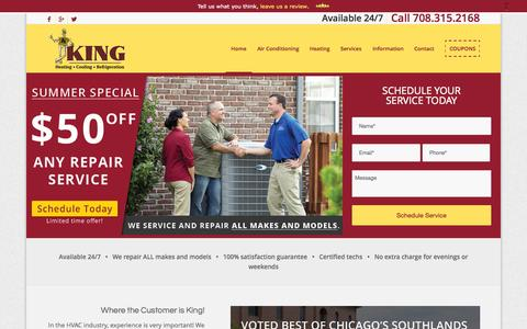 Screenshot of Home Page kingheating.com - Heating & Cooling Repair Service in Oak Forest & Chicago IL - captured Sept. 6, 2015
