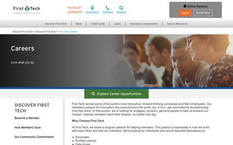 Screenshot of Jobs Page firsttechfed.com - First Tech Careers | Membership | First Tech - captured June 20, 2017
