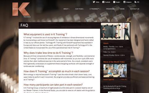 Screenshot of FAQ Page studioktraining.com - FAQ | Studio K Training™ - captured Oct. 9, 2014