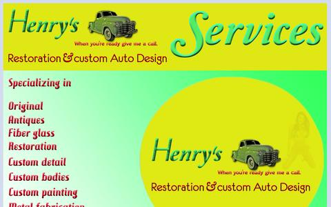 Screenshot of Services Page henrysrestorationandcustomautodesign.com - HenrysServicesWebPage - captured March 17, 2016