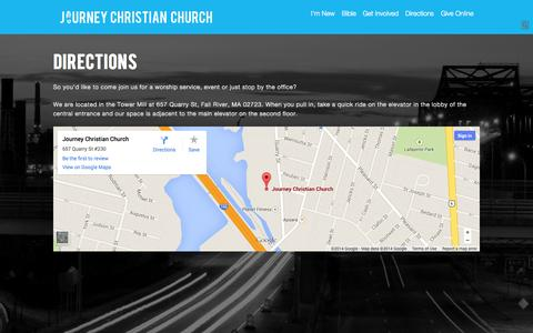 Screenshot of Maps & Directions Page journeychurch.ma - Directions – Journey Christian Church | Fall River, MA - captured Oct. 10, 2014