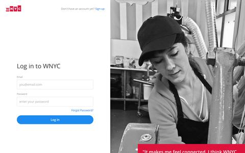 Screenshot of Login Page wnyc.org - Log in | WNYC - captured Feb. 6, 2017