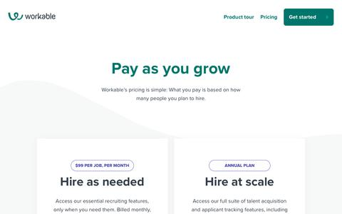Screenshot of Pricing Page workable.com - Workable pricing | ATS and recruiting software - captured April 22, 2019