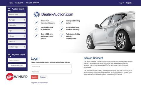 Screenshot of Login Page dealer-auction.com - Dealer Auction - captured Oct. 12, 2017