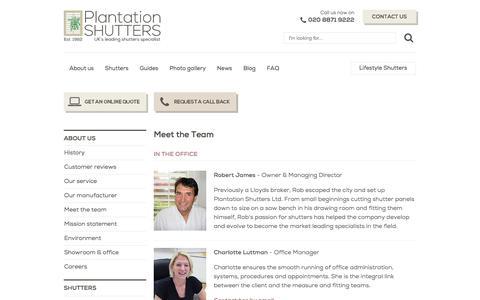 Screenshot of Team Page plantation-shutters.co.uk - Our Team | Plantation Shutters | Window Shutters London UK - captured Nov. 8, 2016