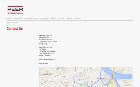Screenshot of Contact Page peer.hk - Peer Partners Ltd. - captured Oct. 2, 2014