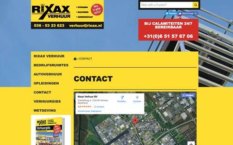 Screenshot of Contact Page rixax.nl - Rixax Verhuur BV | Contact - captured Oct. 18, 2018
