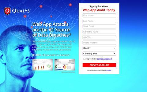 Screenshot of Landing Page qualys.com - Qualys - captured Dec. 30, 2016