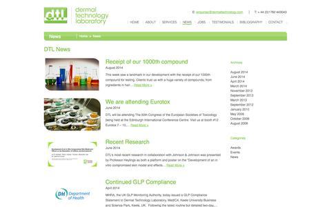 Screenshot of Press Page dermaltechnology.com - Latest news at DTL | Dermal Technology Laboratory | News - captured Oct. 5, 2014