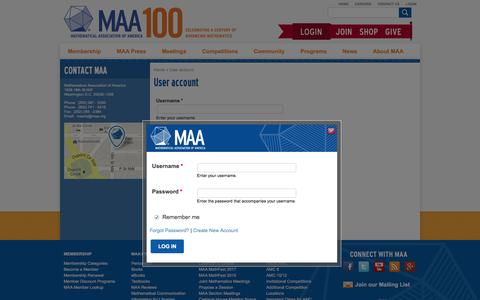 Screenshot of Login Page maa.org - User account | Mathematical Association of America - captured Nov. 12, 2016