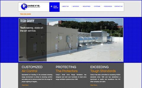 Screenshot of Home Page careyscentral.com - Carey's Small Arms Range Ventilation - captured Oct. 1, 2014