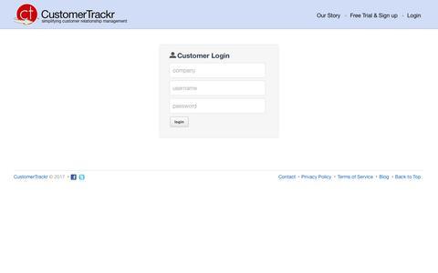 Screenshot of Login Page customertrackr.com - User Login | CustomerTrackr : Online customer relationship management - captured Jan. 5, 2017