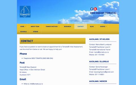Screenshot of Contact Page tomatis.co.nz - Contact - TOMATIS® NEW ZEALANDTOMATIS® NEW ZEALAND - captured Nov. 13, 2017
