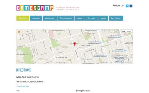 Screenshot of Maps & Directions Page gamercamp.ca - Directions - captured Sept. 29, 2014
