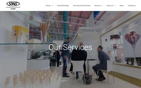 Screenshot of Services Page smg-europe.com - Our Services - SMG Europe - captured Nov. 5, 2018