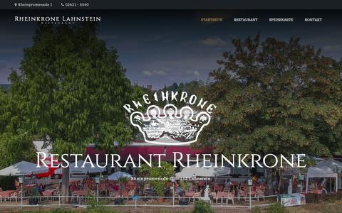 Screenshot of Home Page rheinkrone-lahnstein.de - Rheinkrone Lahnstein – Restaurant - captured Oct. 29, 2018