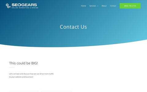 Screenshot of Contact Page seogears.com - Contact – SEOGears - captured July 10, 2019