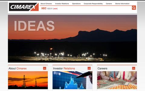 Screenshot of Home Page cimarex.com - Cimarex Energy - XEC - an oil and gas exploration and production company - captured Jan. 23, 2015