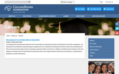 Screenshot of Jobs Page collegeboundfoundation.org - Careers | CollegeBound Foundation - captured May 19, 2017