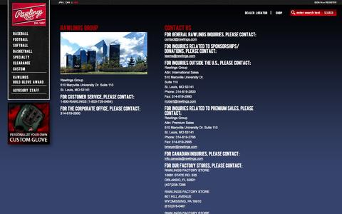 Screenshot of Contact Page rawlings.com - Rawlings - ContactPage - captured Sept. 19, 2014