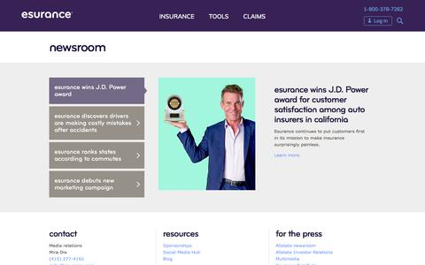 Screenshot of Press Page esurance.com - Newsroom | Esurance - captured Sept. 29, 2019