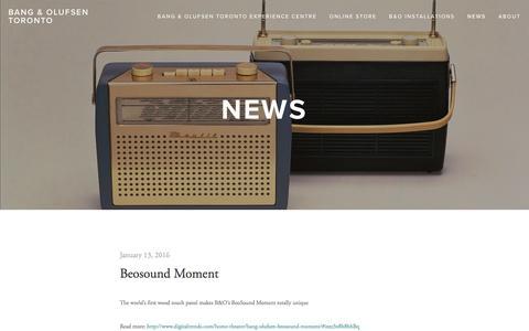 Screenshot of Press Page beotoronto.com - News — BANG & OLUFSEN TORONTO - captured Feb. 7, 2016