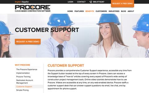 Screenshot of Support Page procore.com - Procore's Customer Support - Learn More! - captured Sept. 17, 2014