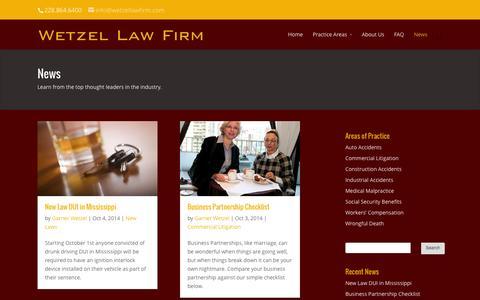Screenshot of Press Page wetzellawfirm.com - News - Wetzel Law Firm - captured Oct. 26, 2014
