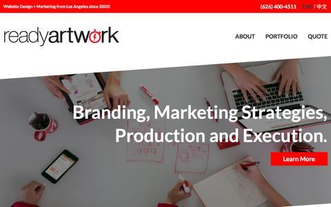 Screenshot of Home Page readyartwork.com - Los Angeles Website Design & Social Media Company | Website Design + Marketing from Los Angeles since 2003! - captured Jan. 5, 2017