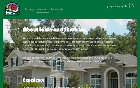 Screenshot of About Page lawnandshrub.com - About Us – Lawn and Shrub Inc. - captured Sept. 27, 2018