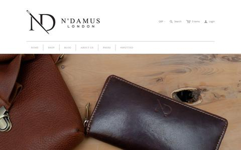 Screenshot of Home Page ndamus.com - Handmade leather bags & accessories, belts and briefcases. - captured Nov. 9, 2015