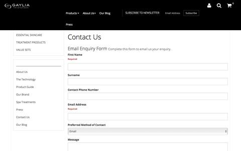 Screenshot of Contact Page gayliakristensen.com.au - Contact Us - captured July 18, 2017