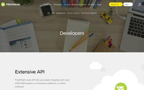 Screenshot of Developers Page freshmail.com - Developer zone - API, Plug-ins - captured Jan. 8, 2016
